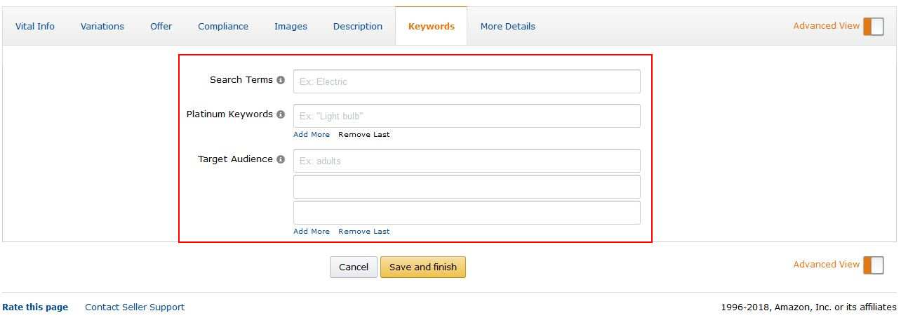 Amazon Hidden Keywords