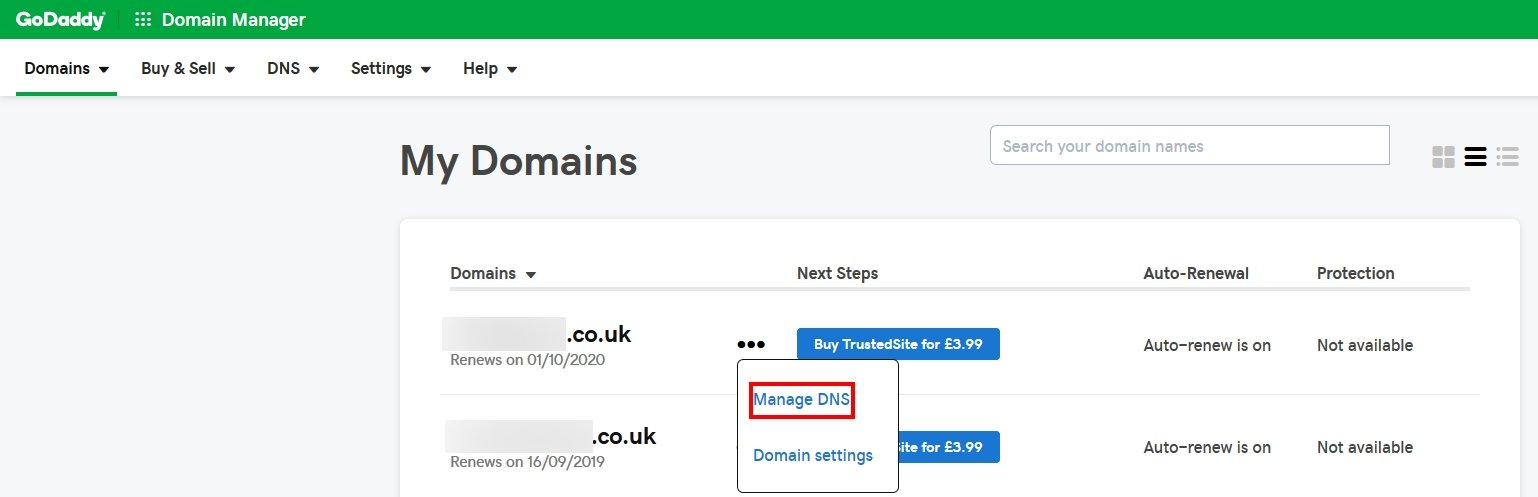 GoDaddy Domain Change