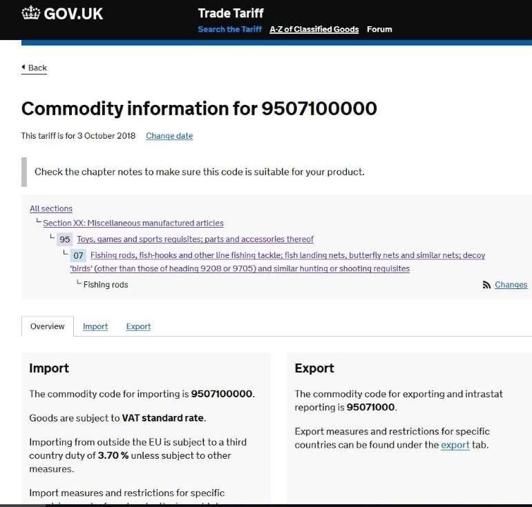 UK Trade Tariff for Importing