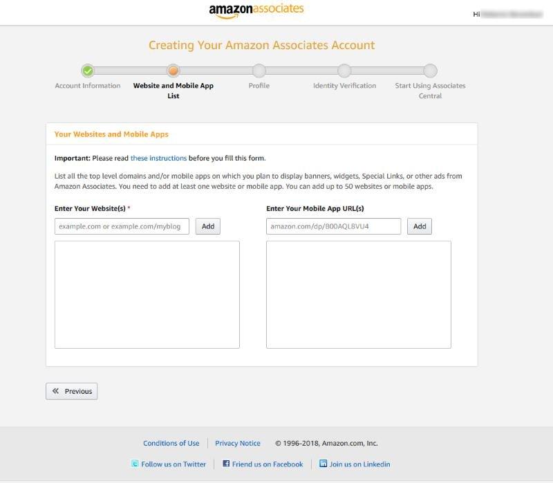 Amazon Associates SignUp Site