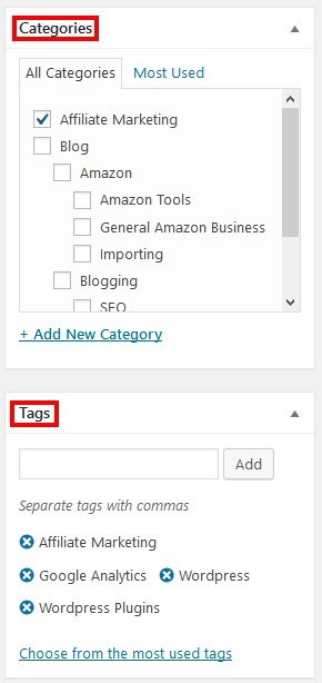 WordPress Categories Tags