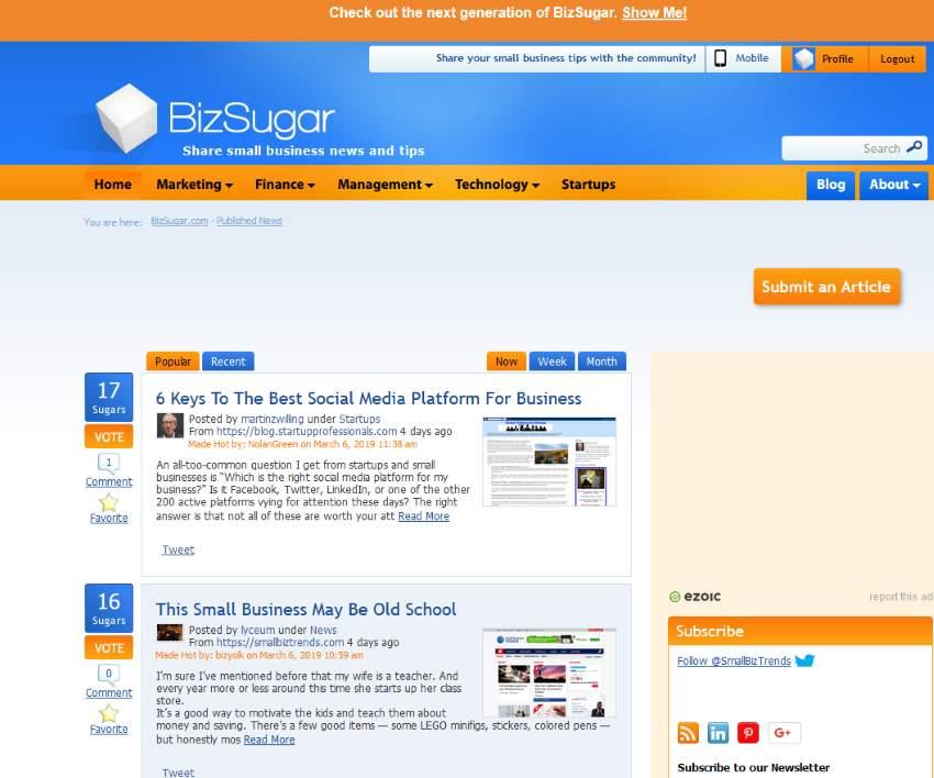 Blog Content Promotion Using BizSugar