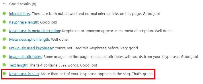 Keyphrase in Slug