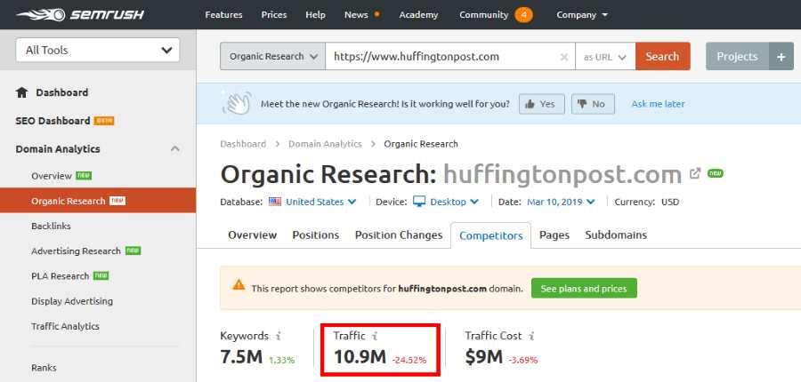Using SEMRush to check a sites organic traffic