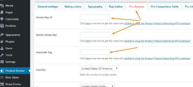 WP Product Review Amazon Setup